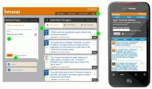 Vues de Hotseat telles que l'étudiant peut le voir depuis un navigateur web sur son ordinateur ou depuis son smatphone